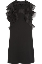 Silk organza-ruffled wool-blend crepe mini dress
