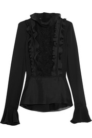 Ruffled silk crepe de chine, silk-organza and macramé lace blouse