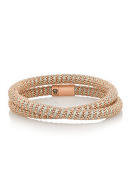 Twister 18-karat rose gold-plated and silk bracelet