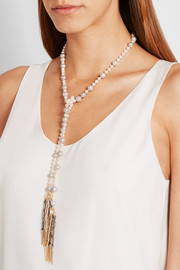 Nana 18-karat gold, pearl and silk necklace