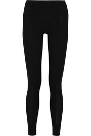 Ribbed stretch-knit leggings