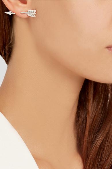 Anita Ko Single Arrow 18 Karat White Gold Diamond Earring