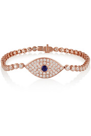 Evil Eye 18-karat rose gold, diamond and sapphire bracelet