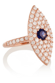 Evil Eye 18-karat gold, diamond and sapphire ring
