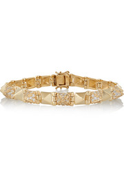 Spike small 14-karat gold diamond bracelet