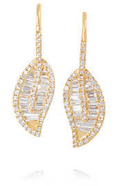 Leaf 18-karat gold diamond earrings
