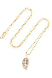 Leaf 18-karat gold diamond necklace