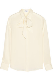 Le Bow silk-georgette blouse