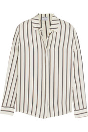 Le Classic striped washed silk-charmeuse shirt