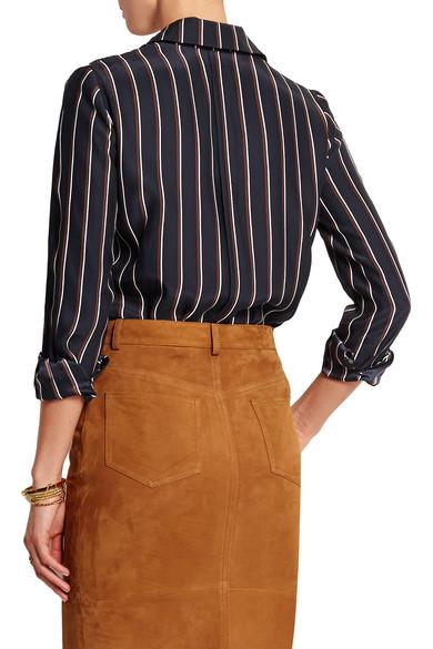 93cde4c1afb3e8 FRAME. Le Classic striped washed silk-charmeuse shirt. £110. Play