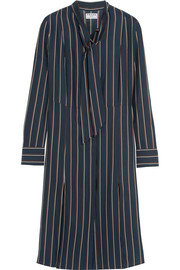 Le Shirt striped washed silk-charmeuse dress