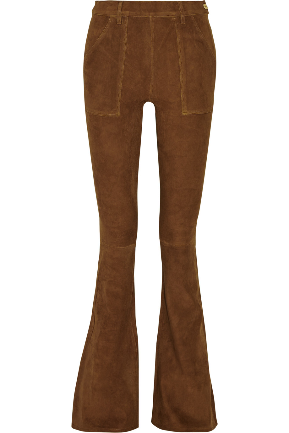 Frame Denim Le Flare De Francoise High-Rise Suede Flared Pants, Light Brown, Women's, Size: 28