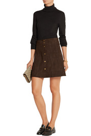 Le Paneled suede mini skirt