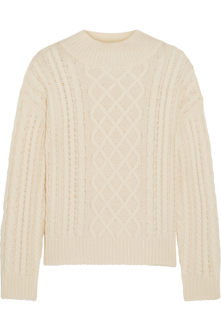 Frame Denim Cable-Knit Wool-Blend Sweater, Cream, Women's, Size: L