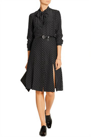 Le Shirt polka-dot silk-charmeuse dress