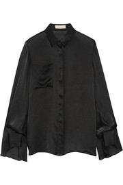 Draped silk-satin shirt