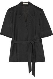Belted wool-sateen jacket