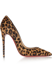 So Kate 120 leopard-print calf hair pumps