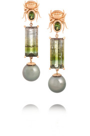 The Secret 18-karat rose gold, pearl and tourmaline earrings