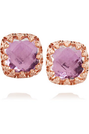 Jane 14-karat rose gold-dipped topaz earrings
