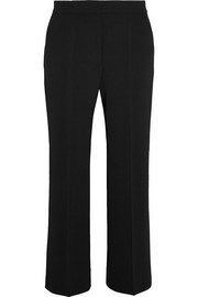 Cropped wool-crepe flared pants