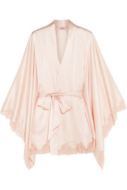 Abbey lace-trimmed stretch-silk satin robe