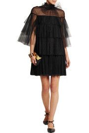 Valentino Tiered point d'esprit, lace and tulle mini dress