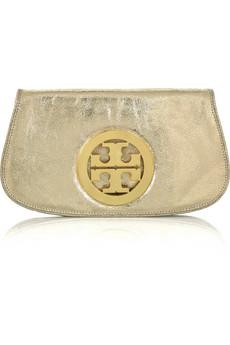 Tory Burch Metallic logo shoulder clutch