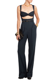 Pinstriped silk-blend jumpsuit