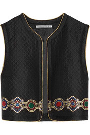 Embroidered quilted jacquard vest
