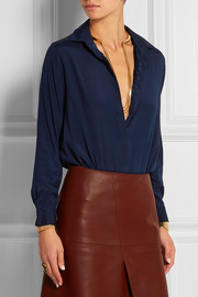Silk-crepe and stretch-jersey bodysuit