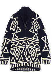 Oversized fair isle wool cardigan