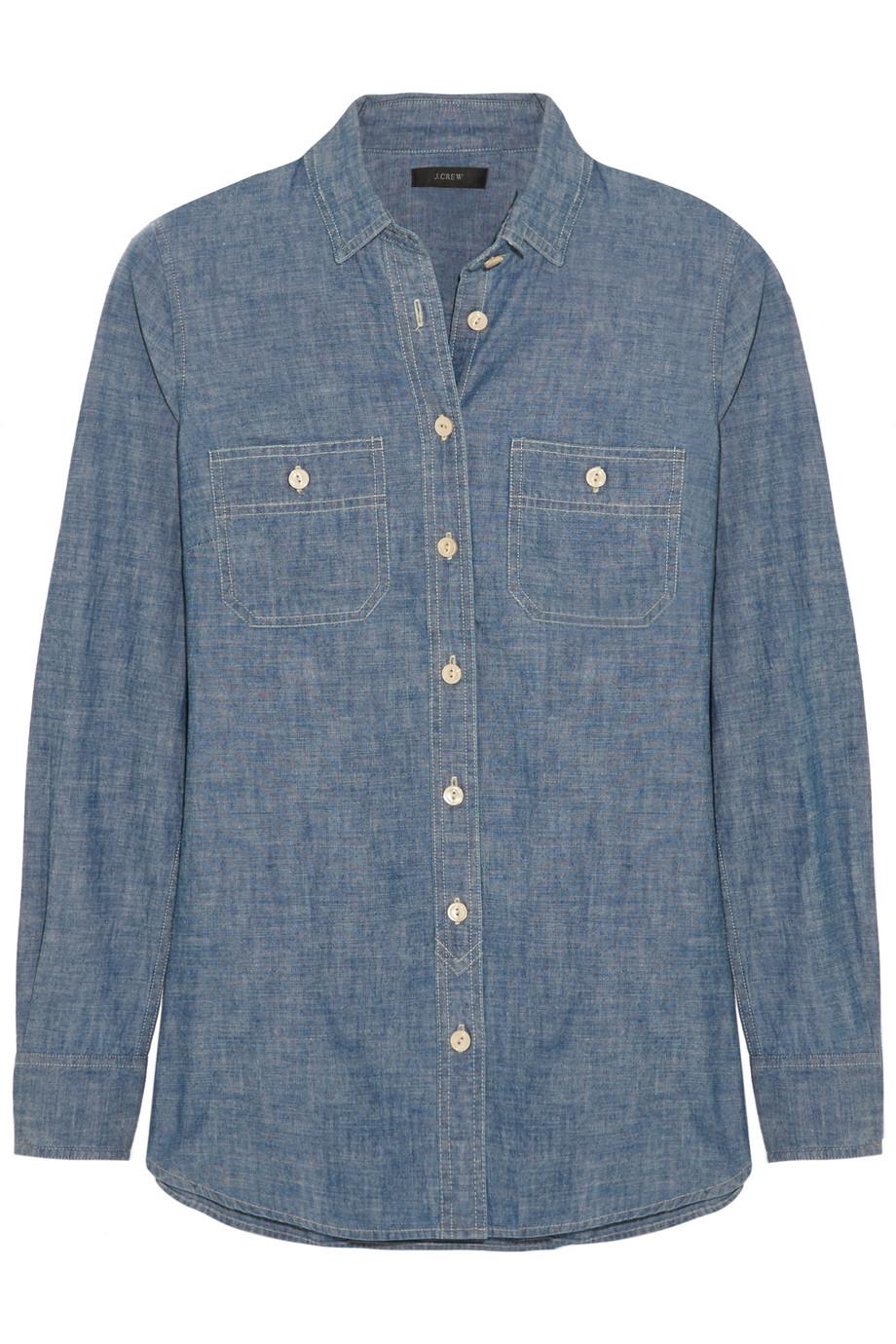 J.Crew Selvedge Cotton-Chambray Shirt, Blue, Women's, Size: 6