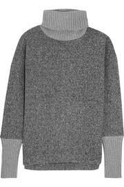 Cashmere-trimmed fleece turtleneck sweater