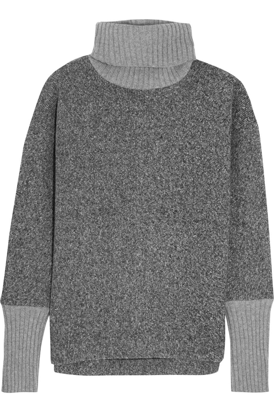 J.Crew Cashmere-Trimmed Fleece Turtleneck Sweater, Gray, Women's, Size: L