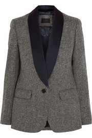 Collection satin-trimmed wool-tweed blazer