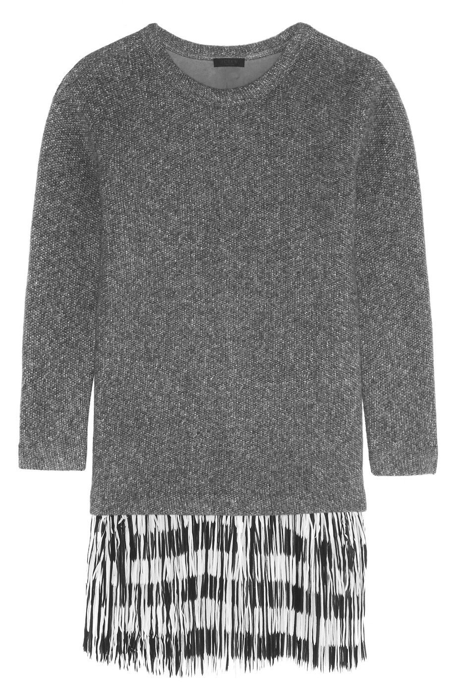J.Crew Fringed Knitted Sweater Dress, Anthracite, Women's, Size: XL
