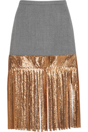 J.Crew Wool and metallic chainmail skirt