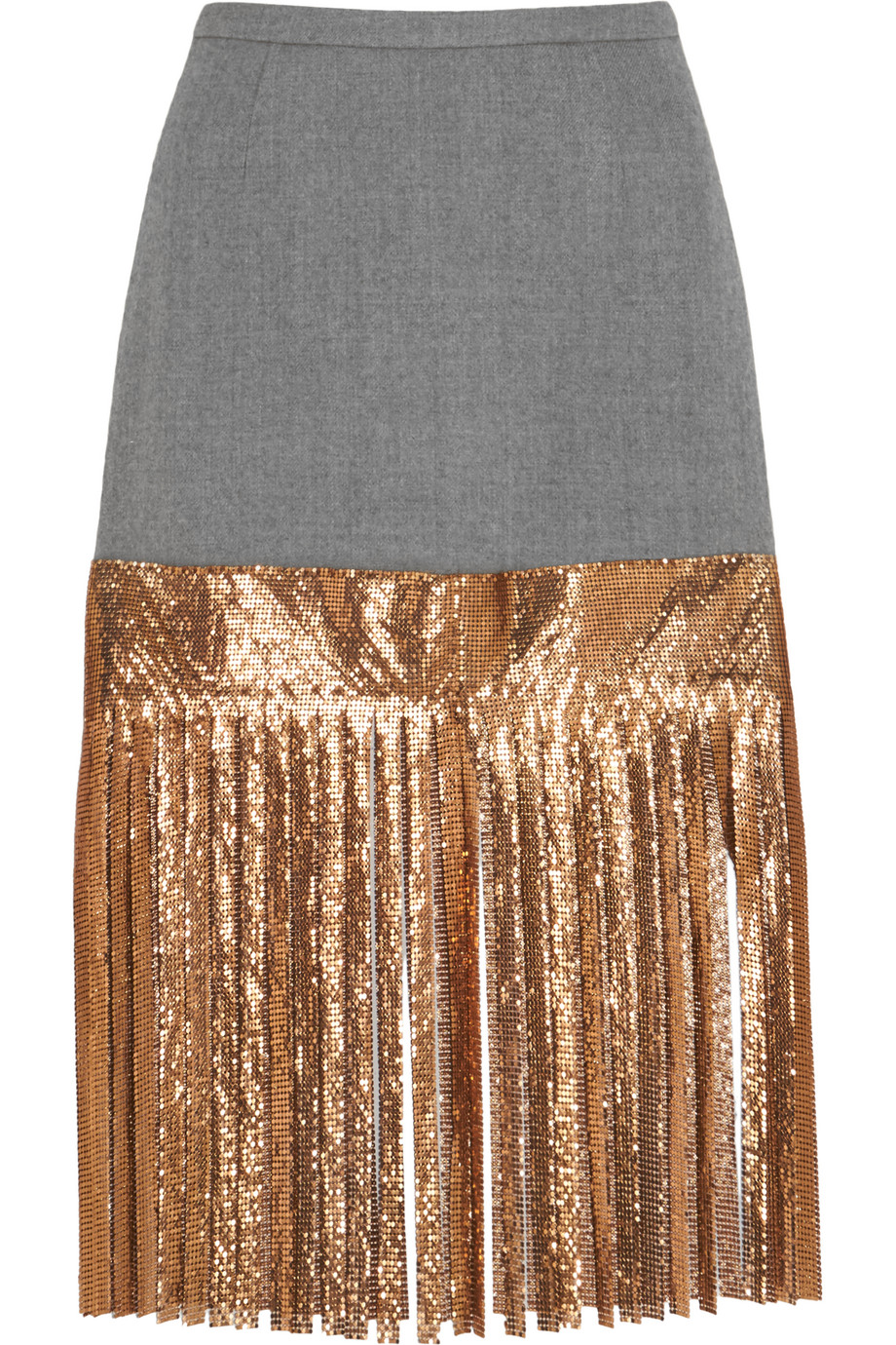 J.Crew Wool and Metallic Chainmail Skirt, Gold, Women's, Size: 0