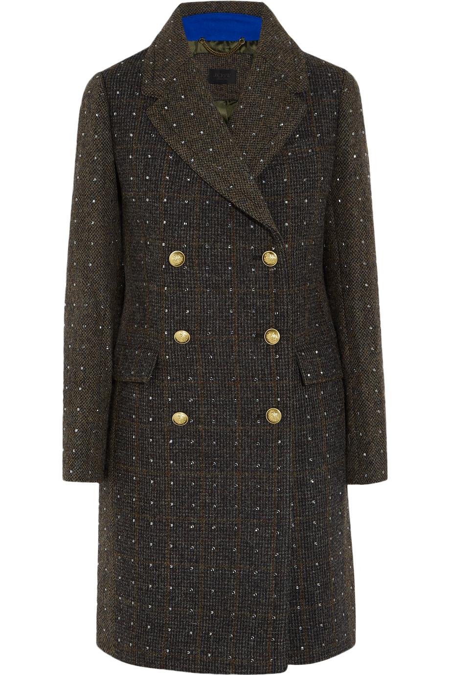 J.Crew Adie Crystal-Embellished Wool-Tweed Coat, Army Green, Women's, Size: 0