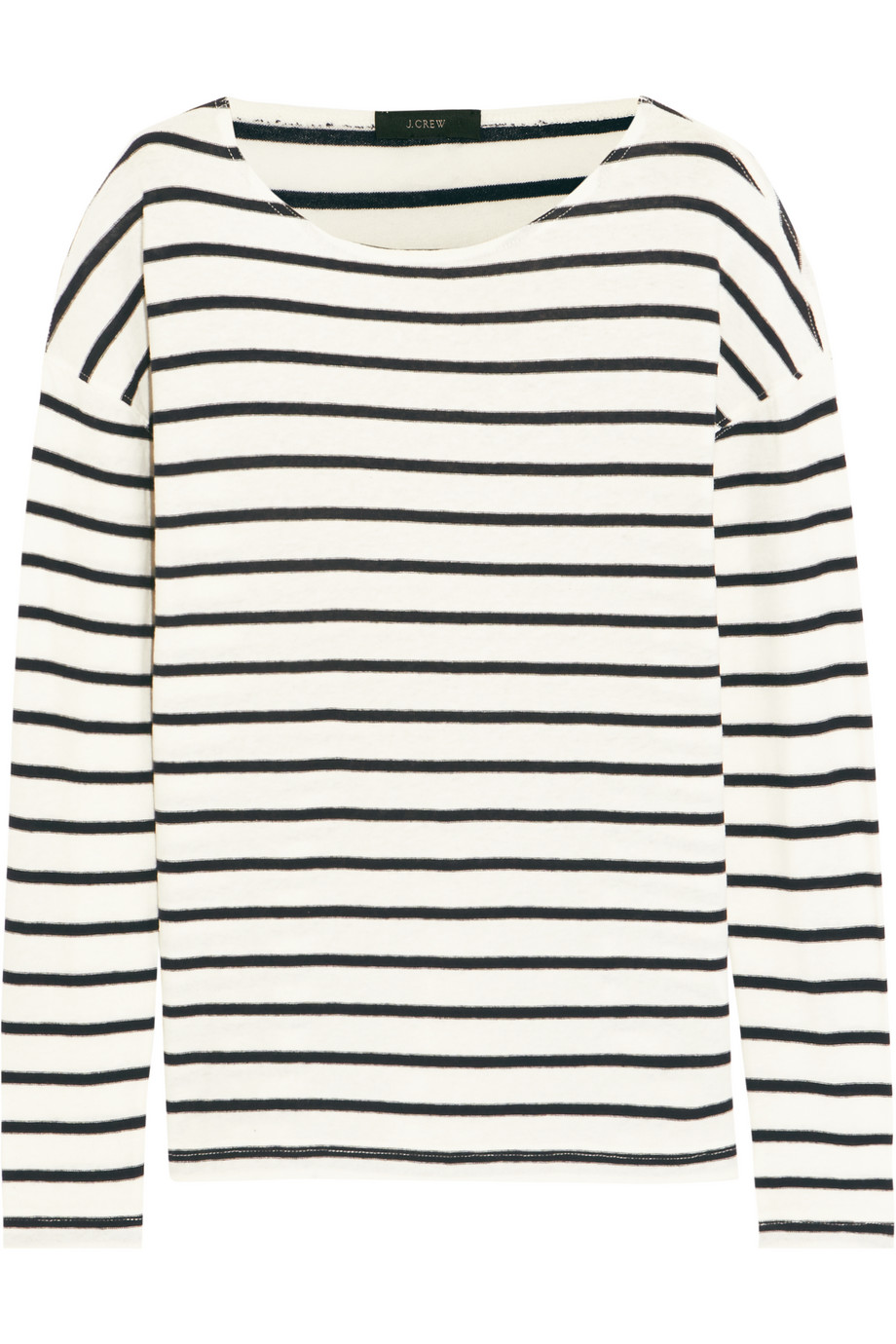 J.Crew Striped Cotton-Jersey Top, Navy, Women's, Size: M