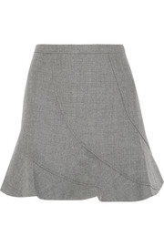 Flared wool mini skirt