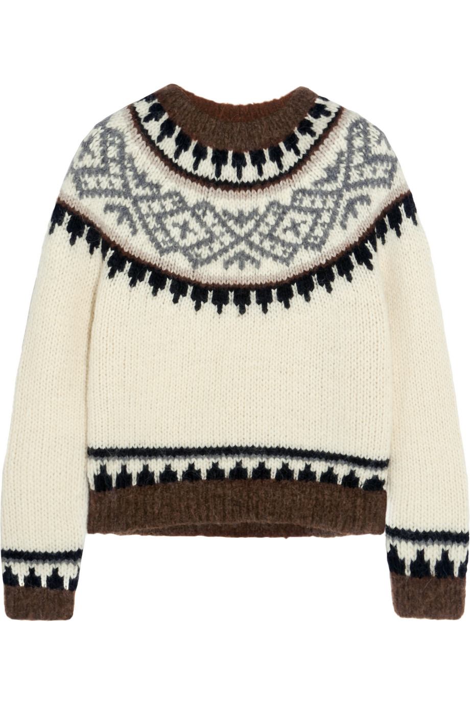 J.Crew Hudson Intarsia Knitted Sweater, Cream, Women's, Size: L