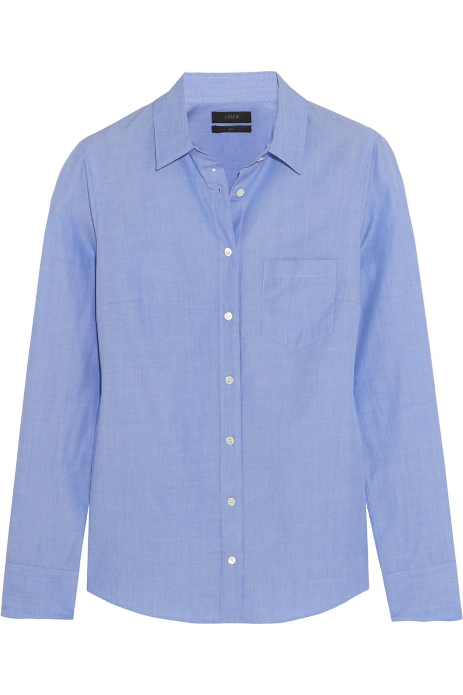 J.Crew Cotton-Poplin Shirt, Light Blue, Women's, Size: 16