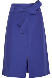 Collection wool and silk-blend faille skirt
