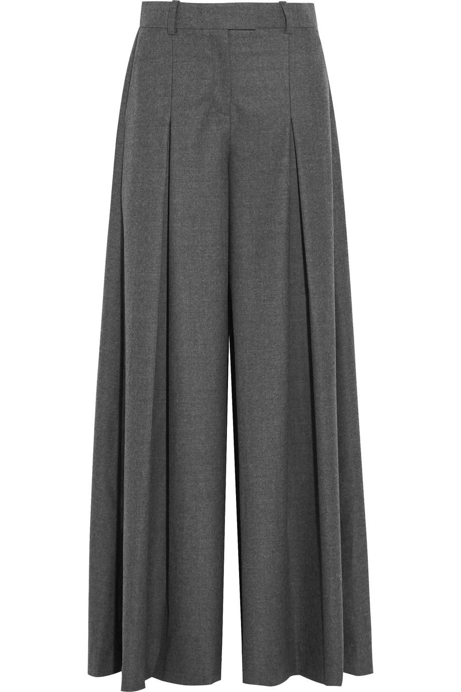 J.Crew Mia Wool-Flannel Wide-Leg Pants, Gray, Women's, Size: 8