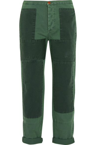 J.Crew - Patchwork Cotton-twill Straight-leg Pants - Forest green