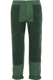 J.Crew Patchwork cotton-twill straight-leg pants