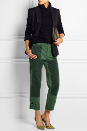 Patchwork cotton-twill straight-leg pants