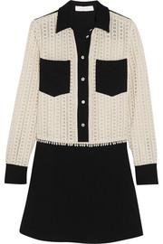 See by Chloé Two-tone crepe and crocheted cotton mini dress